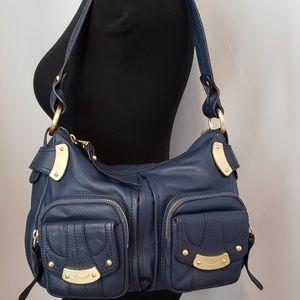 B. Makowski leather purse, blue with gold hardware